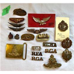 GR OF 20 UNIFORM PINS INCLUDING RCA, RGA, RFA, RCHA.