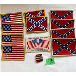 GR OF 12 US ARM PATCHES INCLUDING REBEL FLAGS