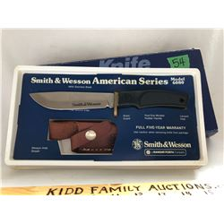 SMITH & WESSON MODEL 6083. STAINLESS STEEL / BRASS / POSI-GRIP KNIFE. NEW IN BOX - USA