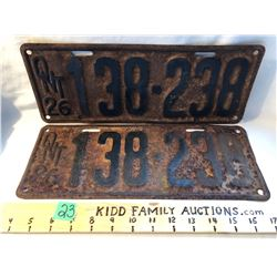 PAIR OF 1926 ONTARIO LICENCE PLATES