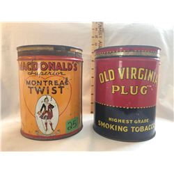 GR OF 2 TOBACCO TINS, MACDONALD'S MONTREAL TWIST & OLD VIRGINIA PLUG