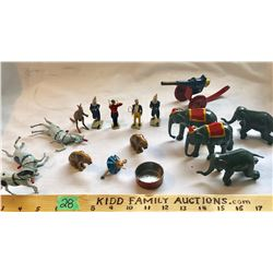 GR OF 16, TIN / LEAD CIRCUS TOYS. MOST ARE BRITIANS.