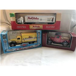 GR OF 3, HOME HARDWARE, TRUE VALUE, TSC - TOY TRUCKS - COLLECTORS BANKS - LIBERTY CLASSICS