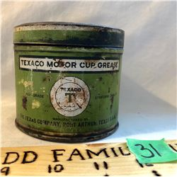TEXACO 1 LBS MOTOR CUP GREASE TIN - TEXAS, USA