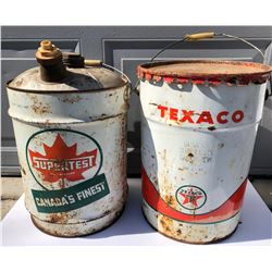 GR OF 2, SUPERTEST & TEXACO 5 GAL PAILS