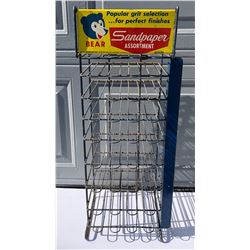 BEAR SANDPAPER DISPLAY RACK WITH TIN SIGN