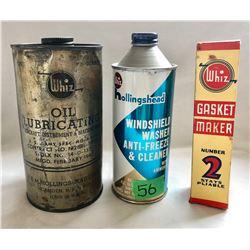 GR OF 3, WHIZ TINS & GASKET MAKER - FULL