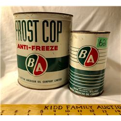 GR OF 2, BA TINS.  1 GAL FROST COP & 1 QT MOTOR OIL - FULL.