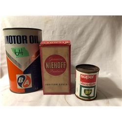 GR OF 3. BA 1 QT TRANSITION TIN - FULL. NIEHOFF VINTAGE BOX W / PART. BP TIN BANK.