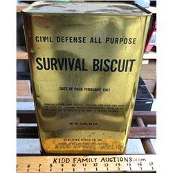 1962 CIVIL DEFENSE SURVIVAL BISCUIT TIN - UNOPENED