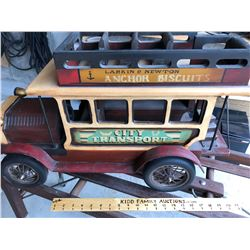 LARGE DECO WOOD & TIN TOY VEHICLE