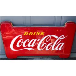 PLASTIC COCA-COLA DISPLAY SIGN MOUNTED ON WOOD FRAME. NOTE: SMALL CRACK, APPROX 4'