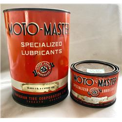 GR OF 2, MOTO-MASTER TINS. 1 LBS & 5 LBS HYPOID LUBE