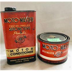 GR OF 2 MOTO-MASTER TINS. 1 LB LUBE & 1 QT CONDITIONER