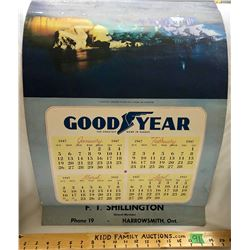 1947 GOOD YEAR CALENDAR - HARROWSMITH, ON