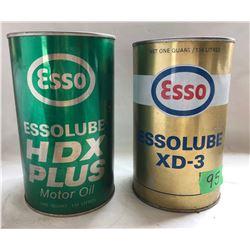 GR OF 2 ESSO MOTOR OIL TINS - ONE FULL