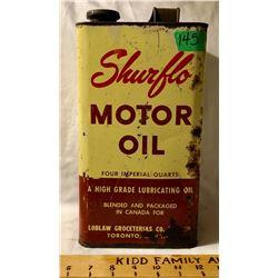 SHURFLO MOTOR OIL TIN, 4 QT SIZE