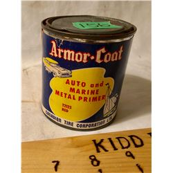CANADIAN TIRE ARMOR-COAT PAPER LABEL TIN - FULL RED