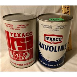 GR OF 2, TEXACO MOTOR OIL FIBER TINS. URSA & HAAVOLINE - FULL.