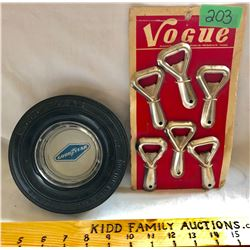 GR OF 2, VOGUE BOTTLE OPENER DISPLAY & GOOD-YEAR TIRE ASHTRAY