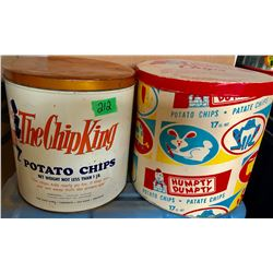 GR OF 2, POTATO CHIP CONTAINERS. THE CHIP KING - TIN. HUMPTY DUMPTY - CARBOARD.