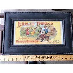 FRAMED BANJO TOBACCO ADVERTISING SIGN - BLACK AMERICANA ADVERTISING