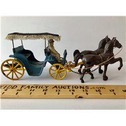 ANTIQUE CAST HORSE DRAWN BUGGY