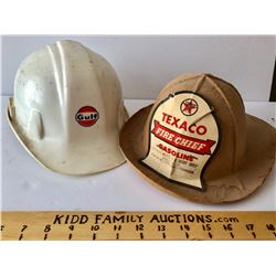 GR OF 2, CHILDREN'S HATS - GULF HARD HAT & TEXACO FIRE CHIEF - STAYNER MOTOR'S