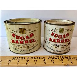 GR OF 2, SUGAR BARREL PIPE TOBACCO TIN WITH METAL PULL TAB - NYC