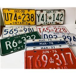 GR OF 12, CONSECUTIVE 1970'S ONTARIO LICENCE PLATES