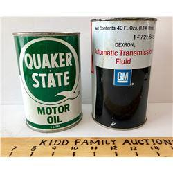GR OF 2, QUAKER STATE MOTOR OIL TIN & GM TRANSMISSION FLUID TIN