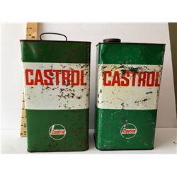 GR OF 2, CASTROL OIL TINS