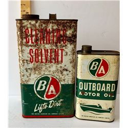 GR OF 2, BA CLEANING SOLVENT TIN & BA OUTBOARD OIL TIN