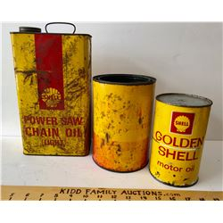 GR OF 3, SHELL POWER SAW CHAIN OIL TIN & SHELL MOTOR OIL TINS