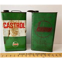 GR OF 2, CASTROL OIL TINS, ONE WITH SPOUT - 1 GAL SIZE