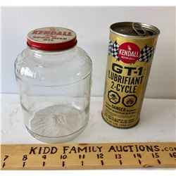 GR OF 2, KENDALL GLASS OIL BOTTLE & GT-1 LUBRICANT TIN