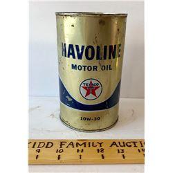 TEXACO HAVOLINE MOTOR OIL TIN