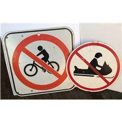 GR OF 2 - ROAD SIGNS - NO BIKING, NO SNOWMOBILING