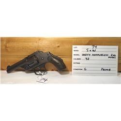 SMITH & WESSON, SAFETY HAMMERLESS 2ND MODEL, .32