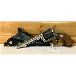 MOVIE PROP, .44 BLANK REVOLVER WITH LEATHER HOLSTER