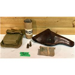 'MAD TRAPPER' HISTORICAL ITEMS. GROUP 2. AMMO: 29 X .380. CANVAS POUCH. BIRD SHOT. LEATHER HOLSTER.