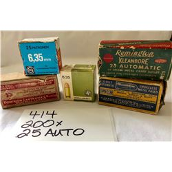 AMMO:  200 X .25 AUTO IN VARIOUS ORIGINAL OLD BOXES
