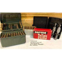 RELOADING LOT:  .8 X 57J BUFFALO ARMS DIE SET. .318 NORMA BULLETS. 21 X .8 X 57 RELOADS. 66 X BRASS.