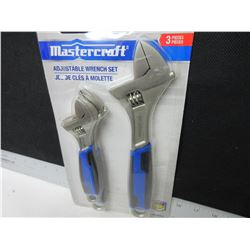 "New Mastercraft Adjustable Wrench set / 3 pieces 6-8 & 10"" wrenches"
