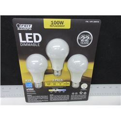 New LED Dimmable 100 watt Replacement Bulbs / last 22 years 1600 lumens