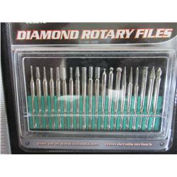 New Diamond Rotary Files / Dremel  1/8 collet  / 20 piece set with case