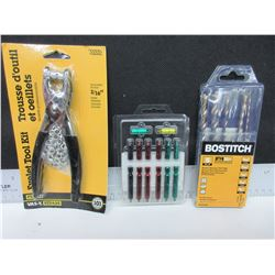 New Bostich 5 Rotary Hammer Bits / Screwdriver bits & Eyelet Tool and kit