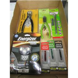 Flat full of New Tools / Energizer Headlight / Tire Gauge / Eyelet kit & More