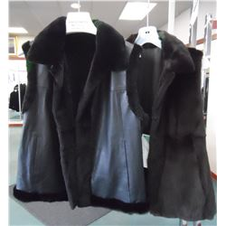 Leather Reverse Sheared Mink Short Vest