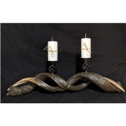 Double Spiral Cast Reproduction Kudu Horn Candle Holder